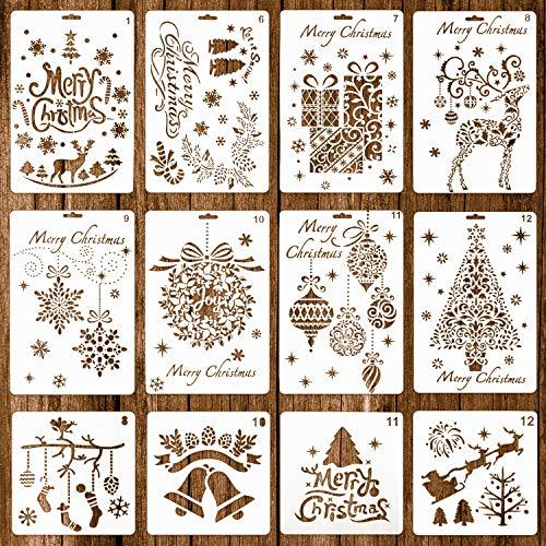 Whaline 12 Pack Stencil di Natale Modelli di Proiettili Diario Plastica Riutilizzabile per Arte Artigianale Disegno Pittura Spruzzo Finestra Vetro e Carta Disegno Fai Da Te(2 Dimensioni)