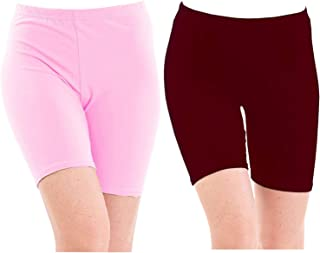 Pixie Biowashed 220 GSM Cotton Lycra Cycling Shorts for Girls/Women/Ladies Combo (Pack of 2) Baby Pink and Maroon - Free Size
