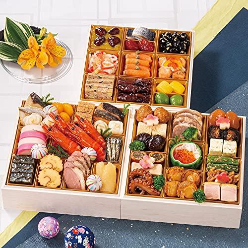 富山 千里山荘 おせち料理 2022 三段重 46品 盛り付け済み 冷蔵おせち 4人前 お届け日:12月31日
