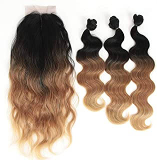 DÉBUT 3 synthetic hair bundles with 1 hand-tied lace front closure 18 20 22 inches 260g Human Hair Similar weave Body Wave Heat Resistant ombre Black Honey Blonde