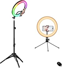"10"" Ring Light with Stand, Fauna 10 Colors RGB LED Ring Light with Two Tripod Stand and Phone Holder & 10 Brightness Level..."