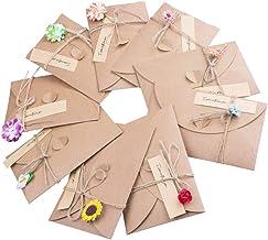 Wolintek Tarjeta de Felicitación, Papel Kraft Retro Hecho a Mano, Sobres en Blanco, Flores Secadas Postal Decorada para Persona Especial y Ocasión Importante (A) Pack x 9