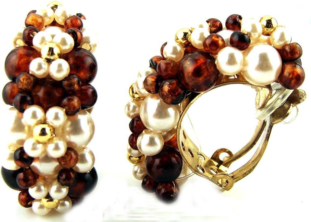Vintage Faux Pearl Cluster Bead Half Hoop Clip On Earrings