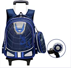GUOGEGE Kids Trolley Backpack with Safety Reflective Strip,2 Wheels Waterproof Nylon Kids Luggage Trolley School Bag Kids School Backpack