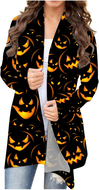 Halloween Sweaters for Women,Womens Halloween Coat Long Sleeve Open Front Funny Black Cat Ghost Lightweight