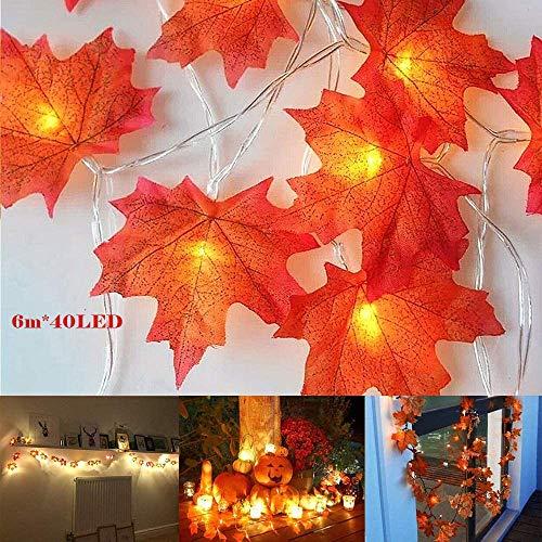 Ahornblatt Lichterketten 6M 40 LED Ahornblätter Lichterkette Herbst Dekoration Lichterkette Ahornblätter Girlande Herbstgirlande LED für Halloween Party Weihnachtsbeleuchtung (Warmweißes)