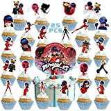25PCS Miraculou_s Ladybu_g Cake Toppers for Kids Birthday Party Supplies Cat Theme Party Decorations