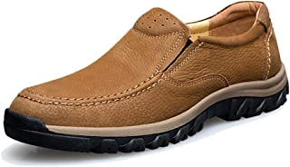 TRULAND Men's Genuine Leather Slip-On Loafers Plus Size