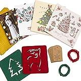 SALE! Caja de Tarjetas de Navidad - 20 Tarjetas con 20 Sobres Rojos y 10 Dorados - 20 Etiquetas de Regalo con 3 Metros de Cuerda de Yute - 2 Posavasos de Diseños Navideños de Fieltro de Poliéster