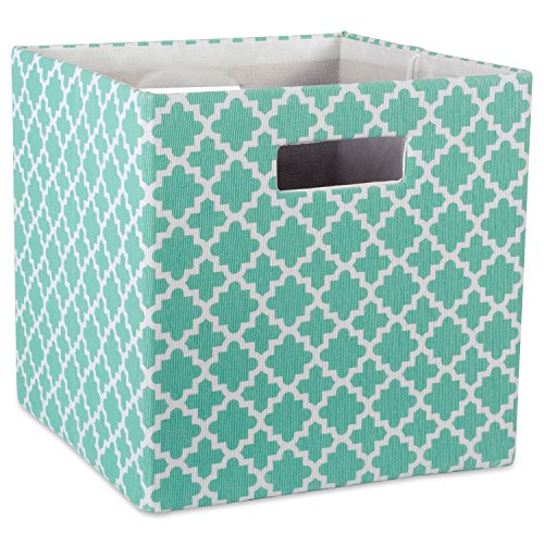 DII Hard Sided Collapsible Fabric Storage Container for Nursery, Offices, & Home Organization, (13x13x13) - Lattice Aqua