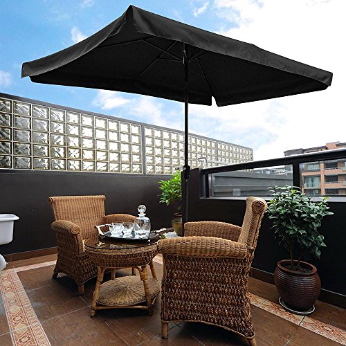 Yescom 10x6.5ft (2x3m) Rectangle Aluminum Outdoor Patio Umbrella w/Valance Sunshade Crank Tilt Market Garden Black