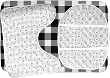 Moslion Gingham Bath Mat Black White Buffalo Check Checkered Lattice Plaid Bathroom Mat Set 3 Pieces Rug Toilet Seat Lid Cove