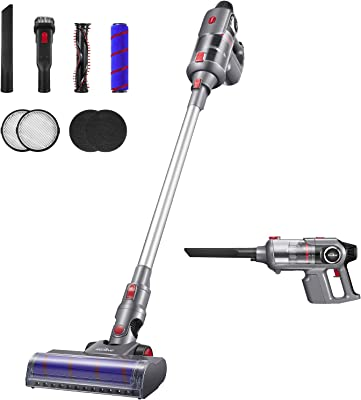 Kealive Cordless Vacuum, 23000pa Stick Vacuum 5 in 1, Smart Sensor Tech, 8-Cell Lithium-ion Batteries, Up to 70 Minutes Runtime, Ultra-Lightweight with Brushless Motor Multi-attachments