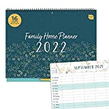 Boxclever Press Family Home Planner. 16 Month Family Calendar 2021/2022 Runs Sept'21 - Dec'22. 2021 2022 Calendar, Monthly Planner with 6 Column Layout. Wall Calendar 2021-2022 with Tabs & Stickers.