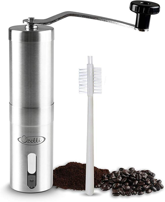 Manual Coffee Grinder By Ozetti Durable Stainless Steel Burr Mill Coffee Grinder That Will Last For Years