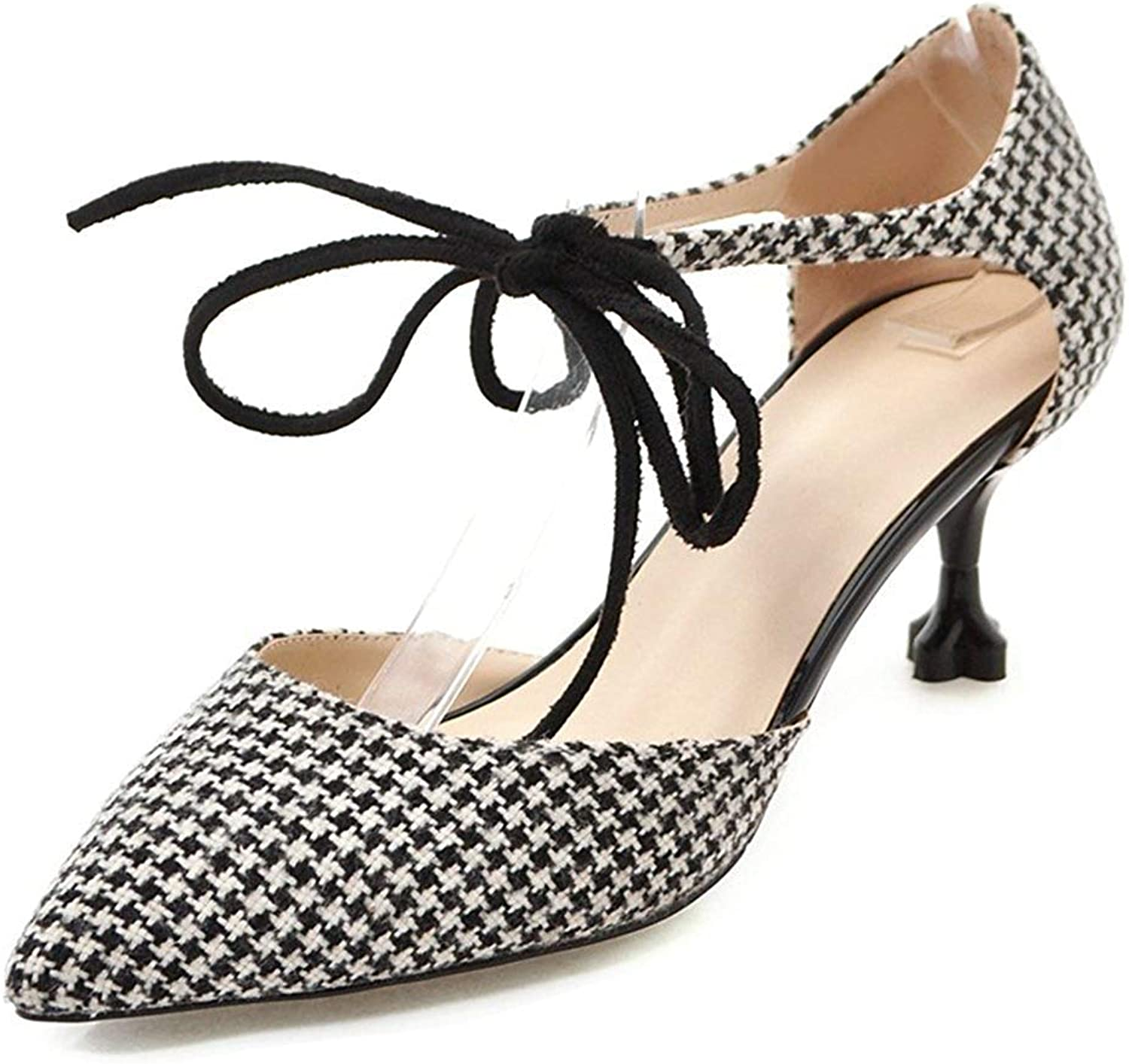 Ghssheh Women's Classic Checkered Pointy Toe Kitten Heels Sandals Black 2 5 M US