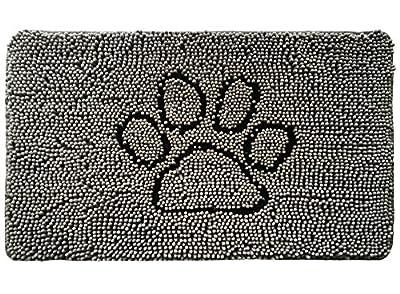 Gorilla Grip Original Indoor Durable Chenille Doormat, 30x20, Absorbent, Machine Washable Inside Mats, Low-Profile Rug Doormats for Entry, Mud Room, Back Door, High Traffic Areas, Paw Gray
