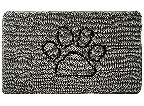 Gorilla Grip Indoor Durable Chenille Doormat, 30x20, Soft, Absorbent, Traps Water and Moisture, for Muddy Shoes and Dog Paws, Machine Washable, Rug Door Mat for Entry, High Traffic Areas, Paw Gray