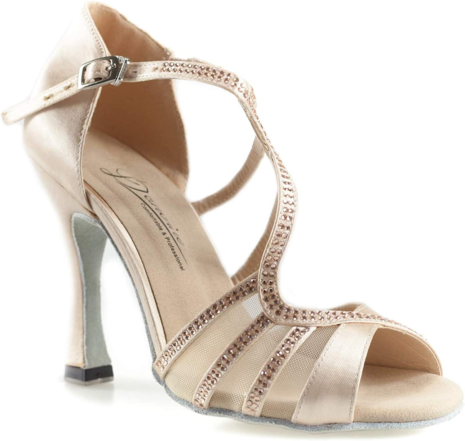 Dancine Serpenti Ballroom Latin Salsa Wedding Dance shoes,Double-Layer Heel Tip,3.9   10cm Nude