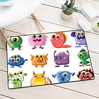 Wang Hai Chuan Funny Universal Door mat Animated Bacteria Aliens Theme Germ Whimsical Cartoon Monsters Humor Faces Graphic Catch dust Snow and mud W31.5 x L47.2 Inch Multicolor
