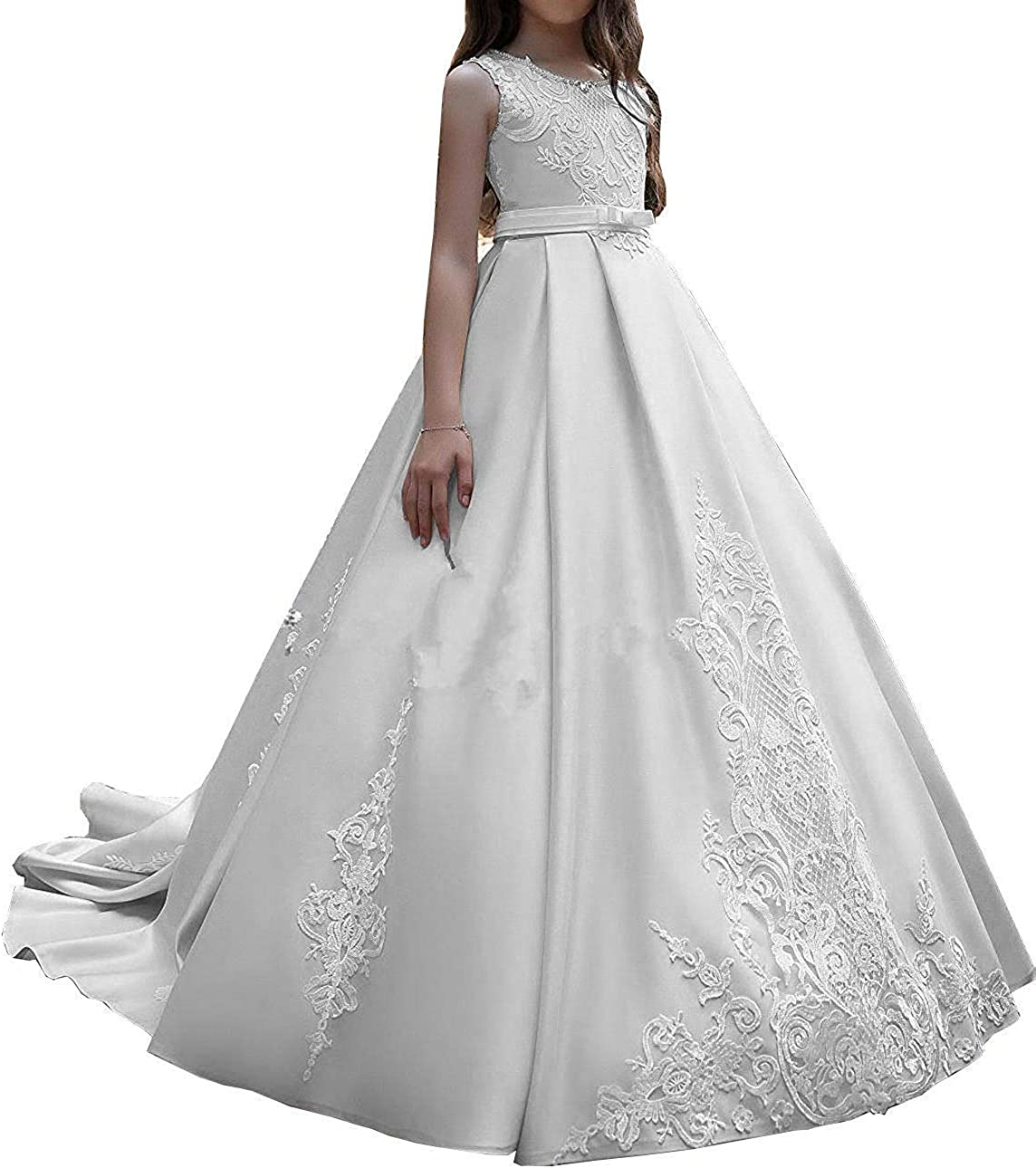 HEVECI Elegant Flower Girl Dress for Wedding Kids Satin Long Train Lace Girls Pageant Dress for Girls 7-16