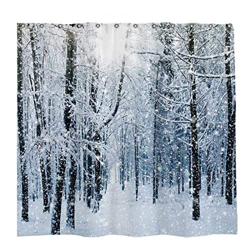 Allenjoy 72x72 inch Winter Theme Merry Christmas Shower Curtain Set with 12 Hooks Beautiful Forest Snowflake on Trees Nature Scenery Bathroom Curtain Durable Waterproof Fabric Bathtub Sets Home Decor