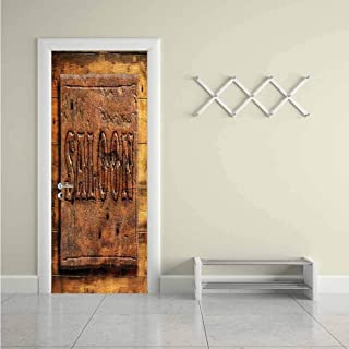 Western,3D Door Sticker Wooden Carving Style Saloon DIY Art Home Decor Decoration W31xH79