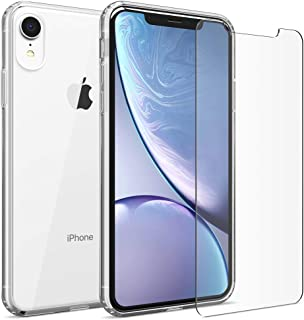 FlexGear Clear Case for iPhone XR and 2 Glass Screen Protectors (Clear)