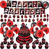 100Pcs Superhero Deadpool Party Decorations Deadpool Party Supplies Include Happy Birthday Banner ,Cake Cupcake Toppers for Balloons and Stickers for Children Adults Birthday Party Decorations