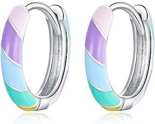 GDDX Pendientes de aro de plata esterlina para mujer Pendientes de aro redondos circulares de zirconia cúbica para joyería...