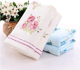 منشفة حمام من القطن الناعم مقاس 34 × 34 سم، منشفة بطباعة زهور للحمام والمنزل والفنادق ومنشفة الوجه (اللون: 34 × 34 سم) أزر...