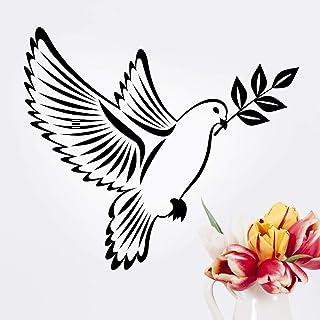 Autocollant mural colombe et branche d'olivier - Autocollant pour fenêtre - Art - Décoration pour cuisine, chambre à couch...