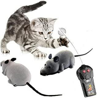 LU2000 Wireless Electronic Remote Control Rat Plush RC Mouse Toy Hot Flocking Emulation Toys Rat for Cat Dog Kid-Gray
