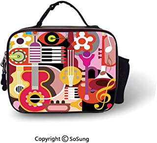 Music Decor Insulated Lunch Cooler Bag Complex Graphic with Various Musical Properties Icons Keyboard Festival Piano Party Art Design Fashion model Lunch Tote,10.6x8.3x3.5 inch,Multi