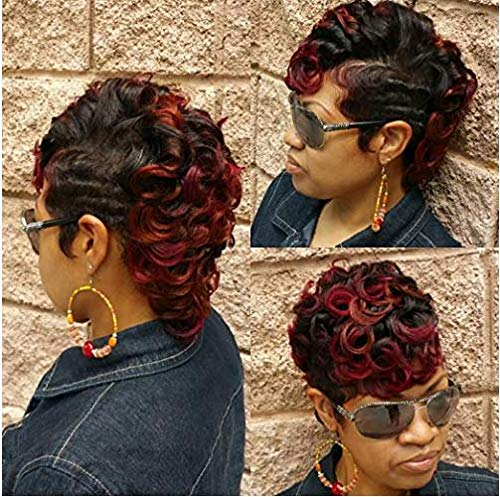 Nicelatus Ombre Red Hair Wig Short Curly Hairstyles for Women Synthetic Ombre Wigs for Black Women