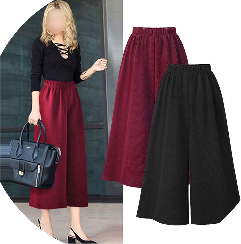 I'll NEVER BE HER Spring Autumn AnkleLength Pants elasticfashion Streetwear high Waist Wide Leg Pants Plus Size 5XL