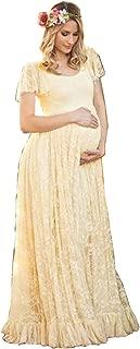 U-Story ZIUMUDY Elegant Short Sleeve Lace Flutter Maternity Gown Wedding Bridesmaid Maxi Dress