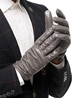 Nappaglo - Guanti classici da uomo in pelle di agnello touch screen in puro cashmere fodera invernale calda guanti di guida