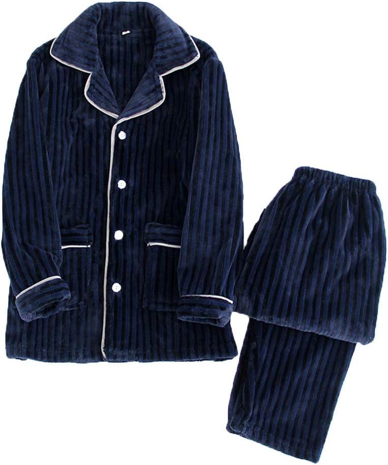 Men's Simple Flannel Pajamas Set,Autumn Winter Long Sleeve Large Size Thickened Warm Two Piece Suit Sleepwear Casual Loungewear,Dark Blue,L