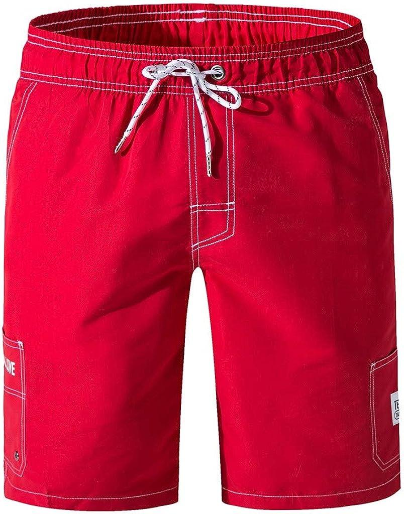 "DIOMOR Classic Solid Color 9"" Inseam Elastic Waist Shorts for Men Beach Drawstring Swim Trunks Athletic Walk Pants"