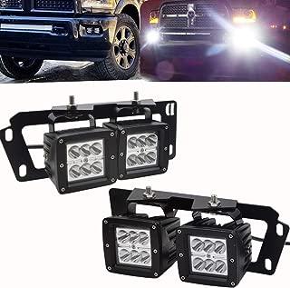 4x 3Inch 18W Dually LED Fog Light Pods Work Light Cube w/Hidden Bumper Mounting Bracket Fit for Dodge 2010-2019 Ram 2500 3500 & 2009-2012 Ram 1500