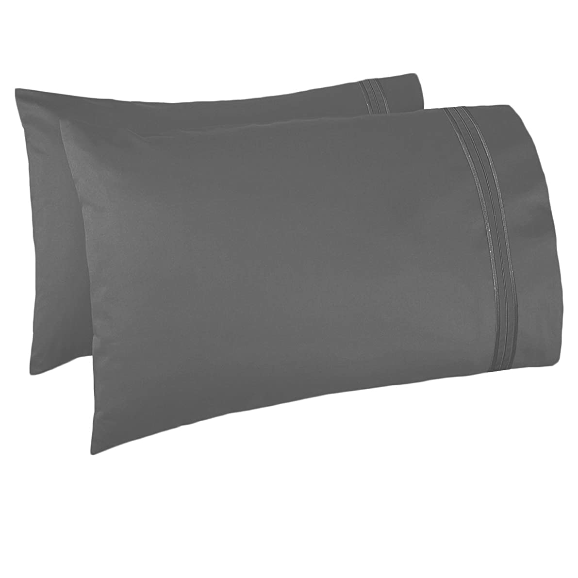 Nestl Bedding Soft Pillow Case Set of 2 - Double Brushed Microfiber Hypoallergenic Pillow Covers - 1800 Series Premium Bed Pillow Cases, Standard/Queen - Charcoal Grey