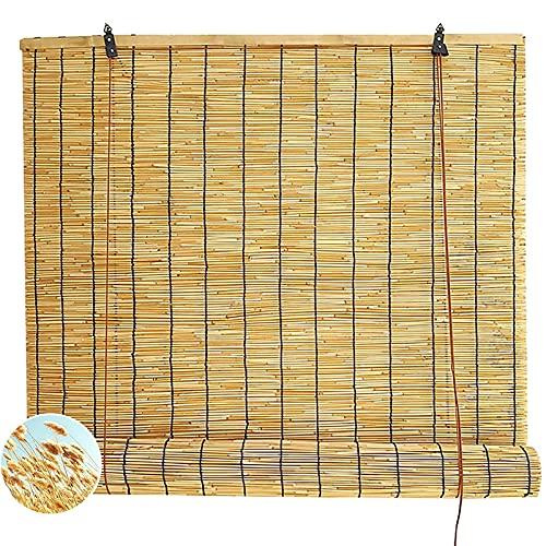 ZCED Tende di bambù per Patio Esterno, Tende da Sole Tende a Rullo per Finestre, Ventilazione Anti-UV Patio Shades Roll Up Outdoor per Portico Pergola Balcone,140x180cm 55x71in