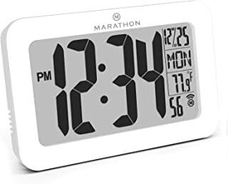 Marathon CL030033WH Commercial Grade Panoramic Atomic Wall Clock with Table Stand - Batteries Included (White)