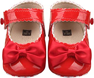 Leorealko Girls Non-Slip Velcro Bright Leather Bow Princess Baby Toddler Shoes Fashion 0-1 Years Old Shoes