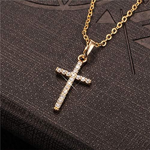 BJGCWY Colgantes Cruzados Femeninos, Collar con Colgante de Cruz de Acero Inoxidable de Color Dorado y Negro, joyería para Hombres/Mujeres, 48 cm YW0736G