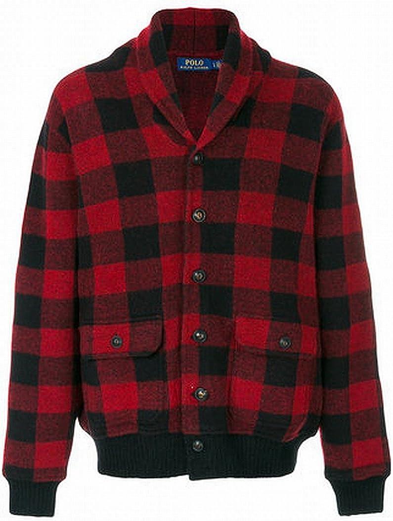 Polo Ralph Lauren Iconic Skeet Cardigan Sweater (RedBlack Plaid, S)