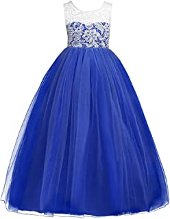 Girls' Tulle Dresses 7-16 Flower Lace Pageant Party Wedding Floor Length Formal Dance Evening Gowns