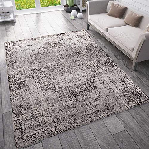 VIMODA Moderner Vintage Look Teppich Orientalisch Meliert, Farbe:Grau, Maße:200x280 cm