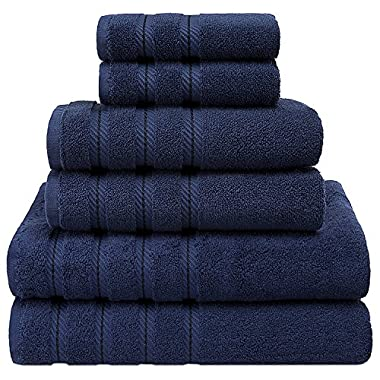 Premium, Luxury Hotel & Spa Quality, 6 Piece Kitchen and Bathroom Turkish Towel Set, 100% Genuine Cotton for Maximum Softness and Absorbency by American Soft Linen, [Worth $72.95] (Navy Blue)